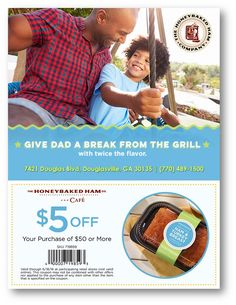 Give a break from the grill this with the help of HoneyBaked Ham Douglasville ! Ham Store, Honey Baked Ham, The Help, Coupons, Grilling, Dads, Honey Roast Ham, Crickets, Fathers