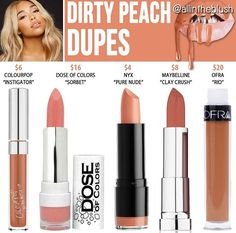 Kylie Jenner lip kit dupes for Dirty Peach Beauty Dupes, Beauty Makeup, Kylie Lip Kit Dupe, Kylie Dupes, Kylie Jenner Lipstick Dupes, Jenner Makeup, Maquillage Yeux Cut Crease, Make Up Dupes, Kylie Cosmetic