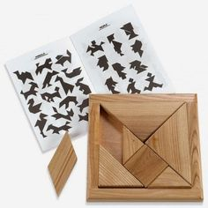 This is such a simple yet complex puzzle. There are seven wooden pieces that allow for 90 plus puzzle formations to be created outside of the tray. This puzzle promotes creativity, imagination and an ability to recall shapes and designs. Tangram Puzzles, Wooden Puzzles, Making Wooden Toys, Montessori Toys, Wood Toys, Toddler Toys, Baby Toys, Woodworking Crafts, Educational Toys