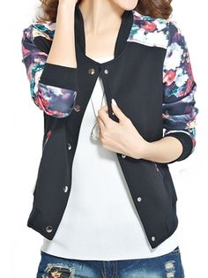 Boutique Chic Printing Sleeve Patchwork Leisure Jacket For Women on buytrends.com