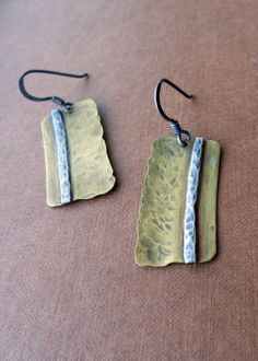 Brass and Sterling Silver Earrings Hammered Earrings by ErinAustin