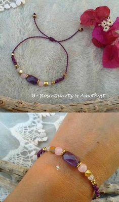 Teresa with natural stones and brass Macrame bracelet Mod.Teresa with natural stones and brass Yoga Bracelet, Bracelet Crafts, Stone Bracelet, Jewelry Crafts, Handmade Jewelry, Macrame Jewelry, Macrame Bracelets, Jewelry Bracelets, Pink Quartz