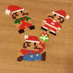 Christmas Mario perler beads by robozippy