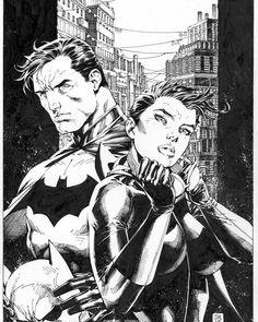 Dc Comics Superheroes, Dc Comics Characters, Jim Lee Batman, Jim Lee Art, Dc Trinity, Batman And Catwoman, Nightwing, Comic Character, Ink Color