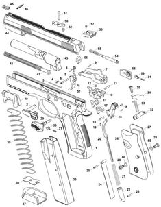 CZ 75 EXPLODED PARTS VIEW, Yellow for lube points