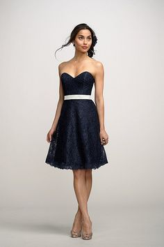 bridesmaid dress?! lacey and navy blue! -This may be the perfect dress!