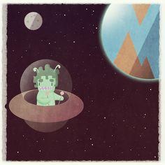 Space invader illustration