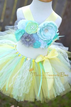 Birthday tutu outfit cake smash outfit Yellow by FancyLoveBowtique