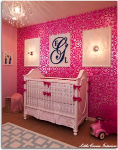 Vintage Modern Nursery with Wallpaper Accent Wall and Monogram - #vintagemodern #monogram
