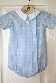 This is nice and classic for a boy.   Baby blue gingham with white pointed collar.