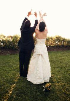 Fun wedding photo idea - kind of cute but cheesy too