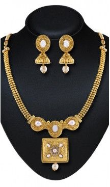 Gold Color Moti Work Artificial Traditional Necklaces Set | FH532480456 Follow us @heenastyle  #Necklace #onlineshopping #necklaceset #forsale #gold #artificial #goldplated #designs #fashion #jewelry #fashionjewellry #accessories #womenfashion #pendentset #earing #jumkis #bangle #bracelets #mangalsutra #tikka #headpieces #handbags #cluethesbeg #ring #indianfashion #fashionista #anklets #bridelset #weddingset #dimondset #brass #metal #heenastylenecless #heenastyle