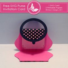 Free SVG Purse Invitation Card Cutting Template - Freebies - Mygrafico.com