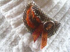 Harris Tweed Wool Fabric Lapel Pin Brooch by KnitwitDesignsUK