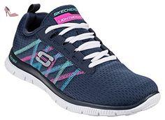 Skechers SK11885Baskets Flex Appeal pour femme à lacets - multicolore - Bleu marine/multicolore, - Chaussures skechers (*Partner-Link)