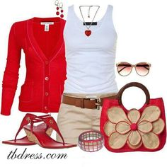 Love the red.  Come on summer.   The bag and shoes are not necessary.