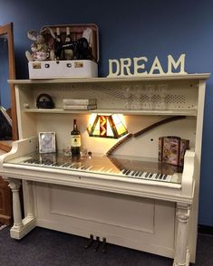 UpCycled Upright Piano now given the new life of a one of a kind desk! Repurpose… UpCycled Upright Piano now given the new life of a one of a kind desk! Repurposed by the ReStore Staff to support our mission of building Habitat Homes! The Piano, Piano Desk, Piano Bar, Piano Table, Piano Bench, Keyboard Piano, Piano Music, Refurbished Furniture, Repurposed Furniture