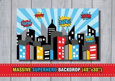 MASSIVE SUPERHERO Backdrop City Skyline by RedAppleStudio on Etsy - Visit now to grab yourself a super hero shirt today at 40% off!