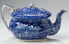 """Northeast Auctions 8/20/16 Lot: 121.   Estimate: $800 - $1,200. Realized: $900 (750).  Description:  'FRANKLIN'S TOMB,' STAFFORDSHIRE DARK BLUE TRANSFER-PRINTED TEAPOT AND COVER, E. & G. PHILLIPS, LONGPORT, 1822-29. Printed with a view of a couple standing before a large urn inscribed """"FRANKLIN,"""" printed factory mark & letter """"P"""" in underglaze-blue. 5 ½"""" h.  Provenance: William & Teresa Kurau Antiques, June 17, 2011."""