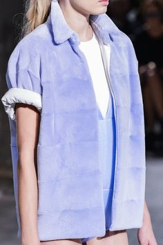 Shaved pastel lavender fur coat with rolled up sleeves. Vionnet SS14