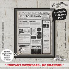 - - - - - - - - - - - - - - - - - - - - - - - - - - - - INSTANT DOWNLOAD - - - - - - - - - - - - - - - - - - - - - - - - - - - - - Dit 1957 krant Poster digitale download maakt de perfecte 60e verjaardag cadeau. Gewoon afdrukken en zet in een frame. Het heeft zijn zorgvuldig ontworpen om te geven van het uiterlijk van een historische vintage krant en markeert u interessante en leuke feiten uit 1957. U kunt zoveel exemplaren als u wilt en op uw sociale media delen afdrukken. Gewoon niet…
