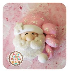 Sleepy Santa  pendant/hair bow por jellycakesdesigns en Etsy, $4.25
