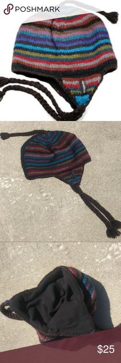 Everest Designs 100% Wool Sherpa Ear Flap Hat This unisex multi-colored  striped sherpa 270830f7e63e
