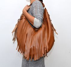 Great gift for boho chic. Shoulder Bags – LARGE BAG HOBO TOFFEE FRINGE BOHO HIPPIE ETNO – a unique product by torebkinext via en.DaWanda.com #brown #leather