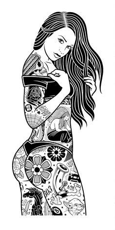 by Mike Giant Mike Giant, Pin Up Girl Tattoo, Pin Up Tattoos, Tattoo Chicana, Tatouage Rock And Roll, Desenho New School, Line Art, Dark Art Tattoo, Tattoo Art