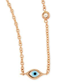 14k Rose Gold Evil Eye Necklace with Single Diamond by Sydney Evan at Neiman Marcus. LUV
