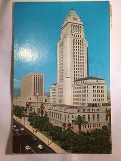 Vintage Los Angeles City Hall and US Post Office postcard postmarked Jan 14 1963