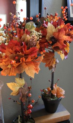 DIY Fall Topiaries…A Michael's Knock Off www.decorchick.com