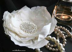 Large Ivory Silk Dupioni Rose