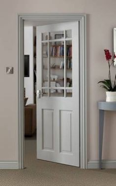 4 frosted design with diamond in center Pine Downham Glazed - Softwood Doors - Internal Doors - Doors & Joinery Collection - Howdens Joinery Outdoor French Doors, French Patio, Glass Floor, Kitchen Doors, Kitchen Cabinets, Room Doors, House Doors, Closet Doors, Entrance Doors