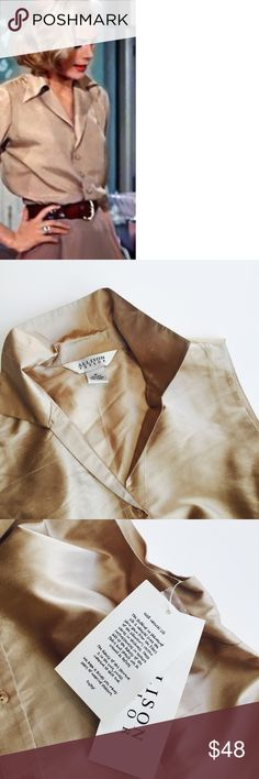 Champagne Gold 100% Silk Blouse Be a muse to the iconic beauty Grace Kelly in this NWT Allison Taylor 100% silk shantung in champagne. Color true to image #2/3 Size Med Nordstrom Reduced#CCO12/29 Tops Blouses