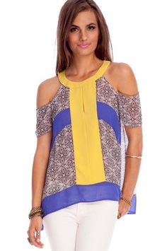 Upfront Printed Top in Yellow Blue $36 at www.tobi.com