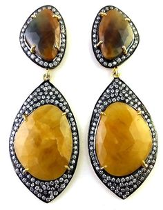 """FREE SHIPPING STERLING 925 SILVER  NATURAL YELLOW SAPPHIRE GEMSTONE EARRING 2'6"""" #SilvexStore #DropDangle"""