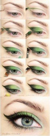 Beautiful green eye make-up - works for all brown and green eyes (probs not blue). This tutorial should work just as well with brown, purple, grey and nude eye-shadows (but again probably not blue) All Things Beauty, Beauty Make Up, Hair Beauty, Beauty Secrets, Beauty Hacks, Beauty Tips, Beauty Regimen, Beauty Trends, Helloween Make Up