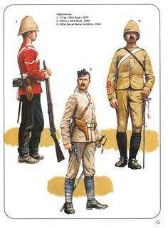 Afghanistan: 1:L/Cpl.,59th Regt.,1879.2:Officer,66th Regt.,1880.3:BSM,Royal Horse Artillery,1880.