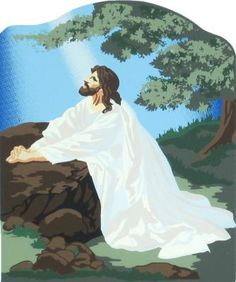 Jesus In Gethsemane - Mark 14:32-42   The Cat's Meow Village / Bible Story included on the back