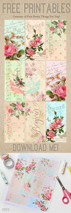Free Parisian Romantic Scrapbook Printables - Free Pretty Things For You