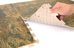 Stone Flex Tiles - Easy To Install Interlocking Vinyl Tiles --No glue, no nails, totally removable. Perfect for renting!