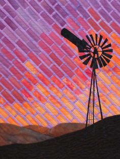 Landscape Quilt made in a Gloria Loughman workshop ~ love the tiles sunset and the windmill outline...
