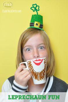 Leprechaun crafting fun idea mug for St. Patricks Day by Club Chica Circle