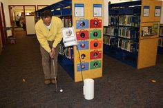 library mini golf - i LOVE this and think it would make a great library fundraiser!  have the teen advisory group set up and run after hours