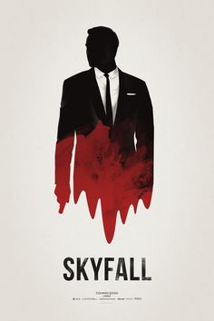 "This James Bond poster is absolutely fantastic because of the sleek and minimalist design. The type is effective in this poster because of the boldness and hierarchy of the black font in the word ""Skyfall. Best Movie Posters, Minimal Movie Posters, Cinema Posters, Cool Posters, Disney Posters, Poster Layout, Poster Art, Poster Minimalista, Tachisme"