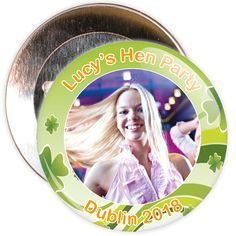 A customisable hen night badge with an Irish themed border. These hen party badges are customised with a photo, the name of the hen and a location.