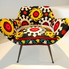 Lebanese designers Huda Baroudi and Maria Hibri of Bokja presented a collection of found furniture pieces upholstered in vintage Middle Eastern fabrics.