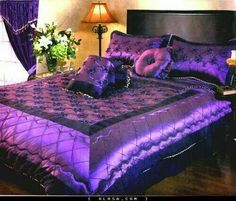 Bedroom interior purple beds 59 ideas for 2019 Satin Bedding, Purple Bedding, Luxury Bedding, Lavender Bedding, Peacock Bedding, Purple Home, Purple Bedrooms, Purple Interior, Malva