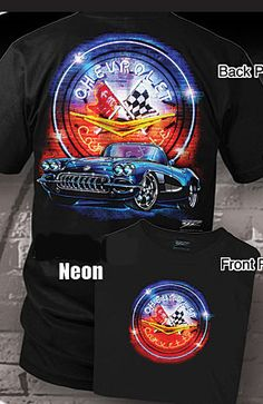 C1 Corvette T-shirt - Neon$15.00 Made of 100% cotton. Front screen center chest print featuring classic Chevrolet Corvette neon sign. Back screen print features 1958 C1 Corvette in front of classic Chevrolet Corvette neon sign.   Available in sizes: Medium - 2XL.